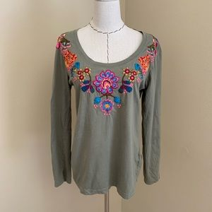 Johnny Was Embroidered Long Sleeve Tee Shirt Top L